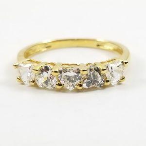 Diamonique 1.25 ct tw Heart Band Ring 14k Gold